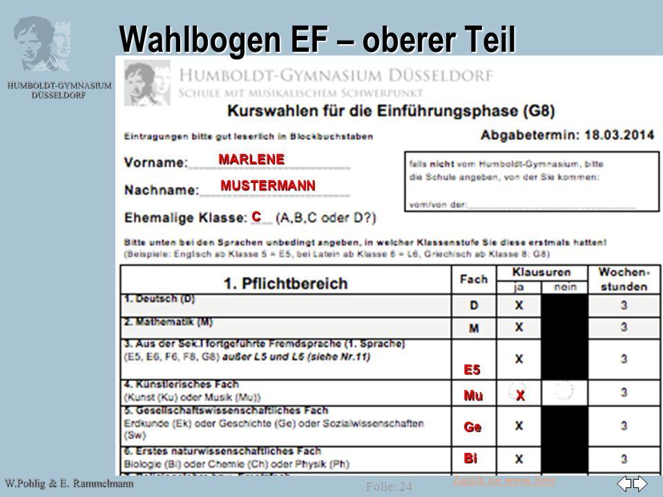 Wahlbogen EF – oberer Teil