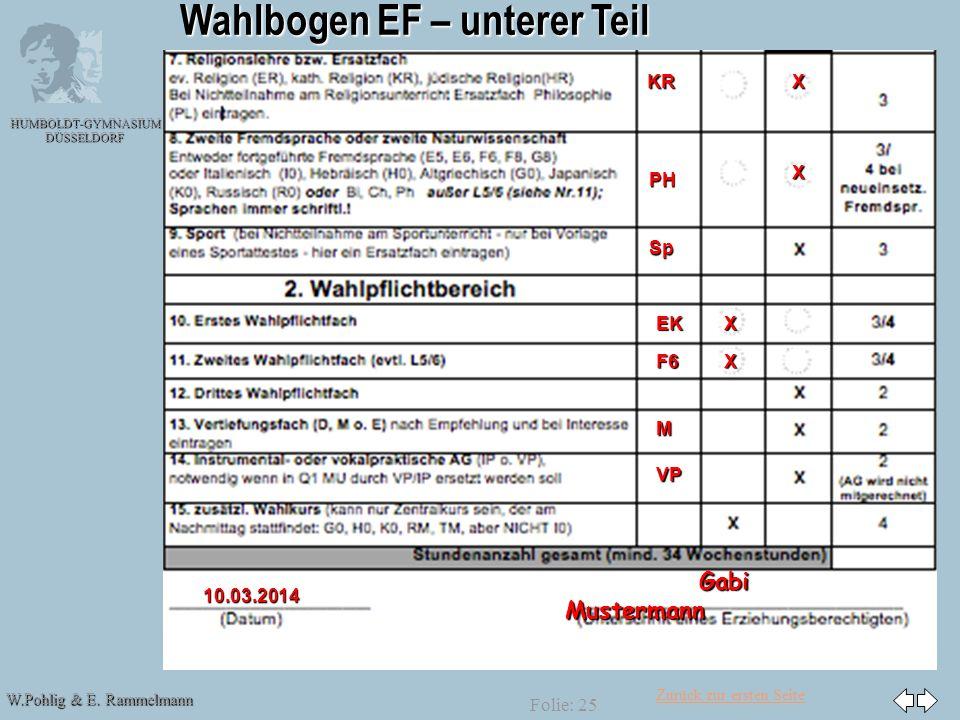Wahlbogen EF – unterer Teil