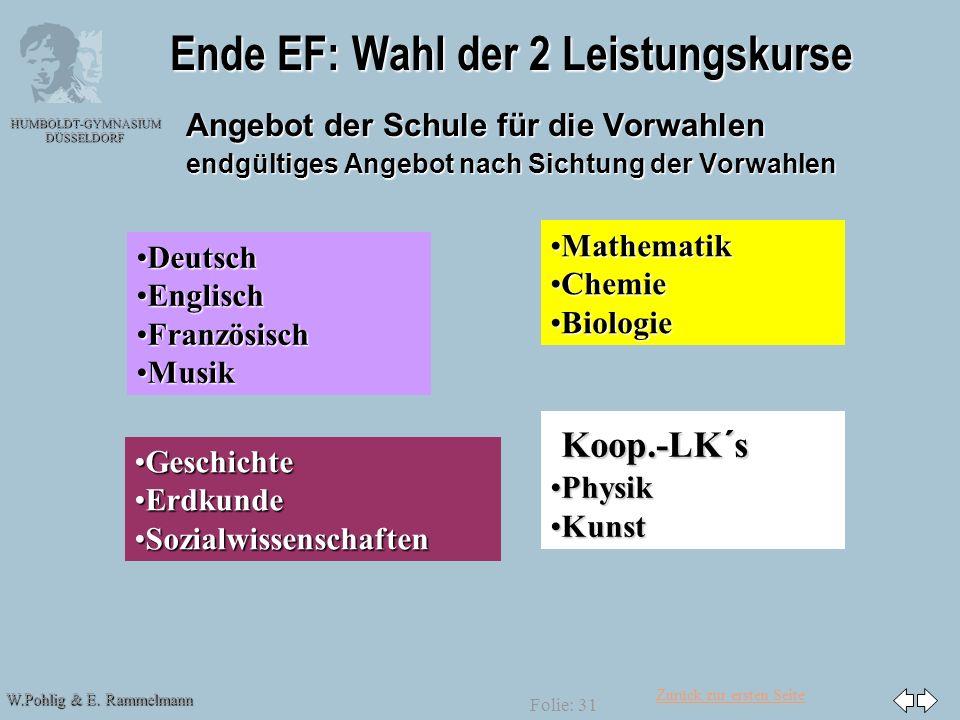 Ende EF: Wahl der 2 Leistungskurse