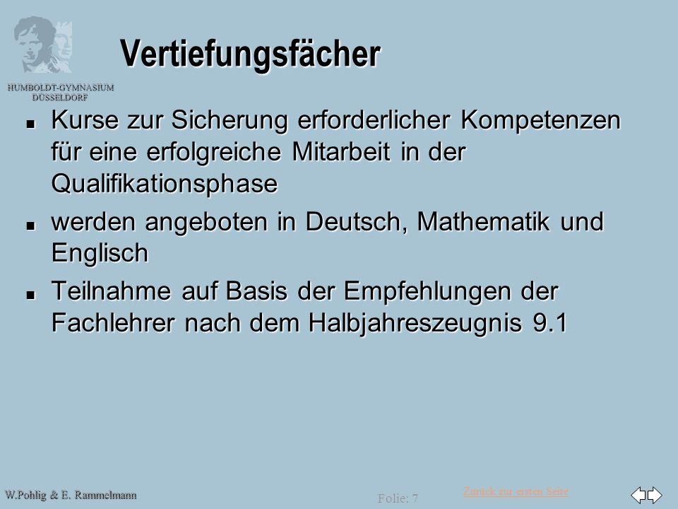 30.03.2017 Vertiefungsfächer. Kurse zur Sicherung erforderlicher Kompetenzen für eine erfolgreiche Mitarbeit in der Qualifikationsphase.