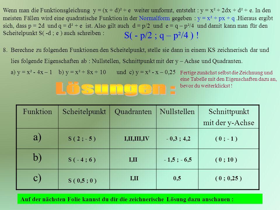 Lösungen : a) b) c) S( - p/2 ; q – p²/4 ) ! Funktion Scheitelpunkt