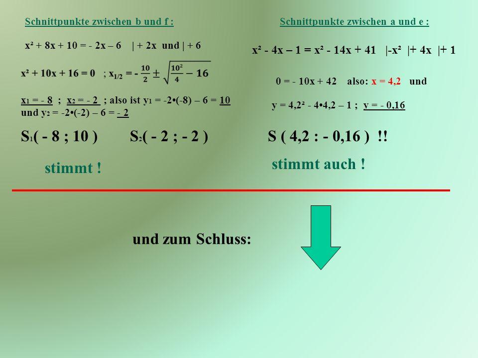 S1( - 8 ; 10 ) S2( - 2 ; - 2 ) S ( 4,2 : - 0,16 ) !! stimmt auch !