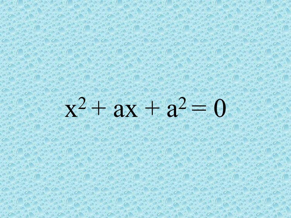 x2 + ax + a2 = 0