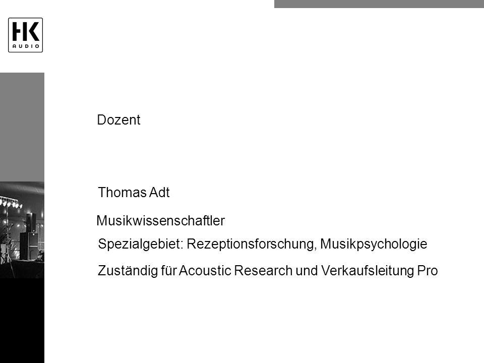 Dozent Thomas Adt. Musikwissenschaftler. Spezialgebiet: Rezeptionsforschung, Musikpsychologie.