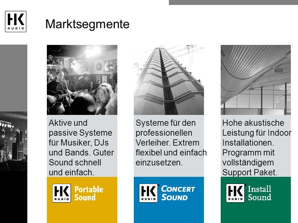 Marktsegmente Aktive und passive Systeme für Musiker, DJs und Bands. Guter Sound schnell und einfach.