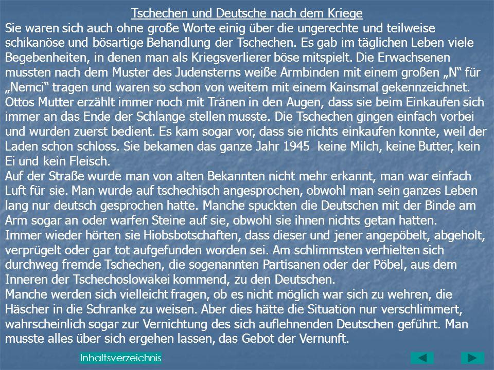 Tschechen und Deutsche nach dem Kriege