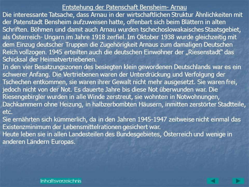 Entstehung der Patenschaft Bensheim- Arnau
