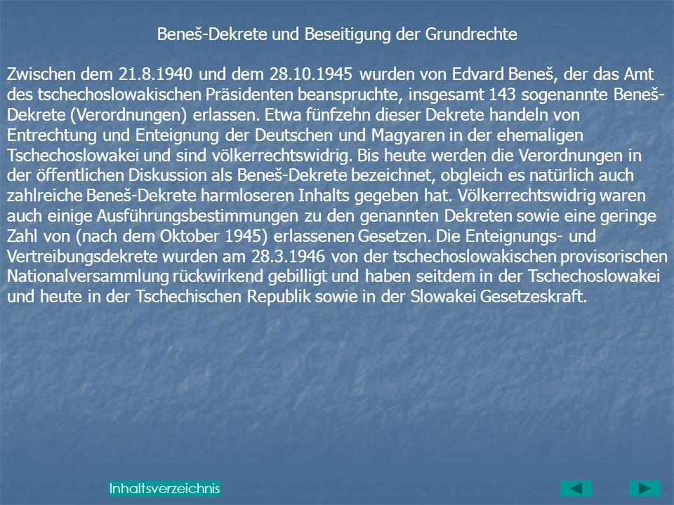 Beneš-Dekrete und Beseitigung der Grundrechte