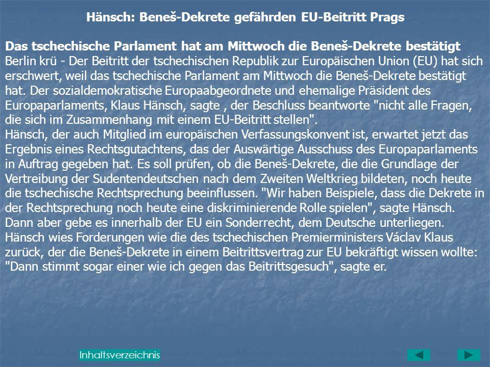 Hänsch: Beneš-Dekrete gefährden EU-Beitritt Prags