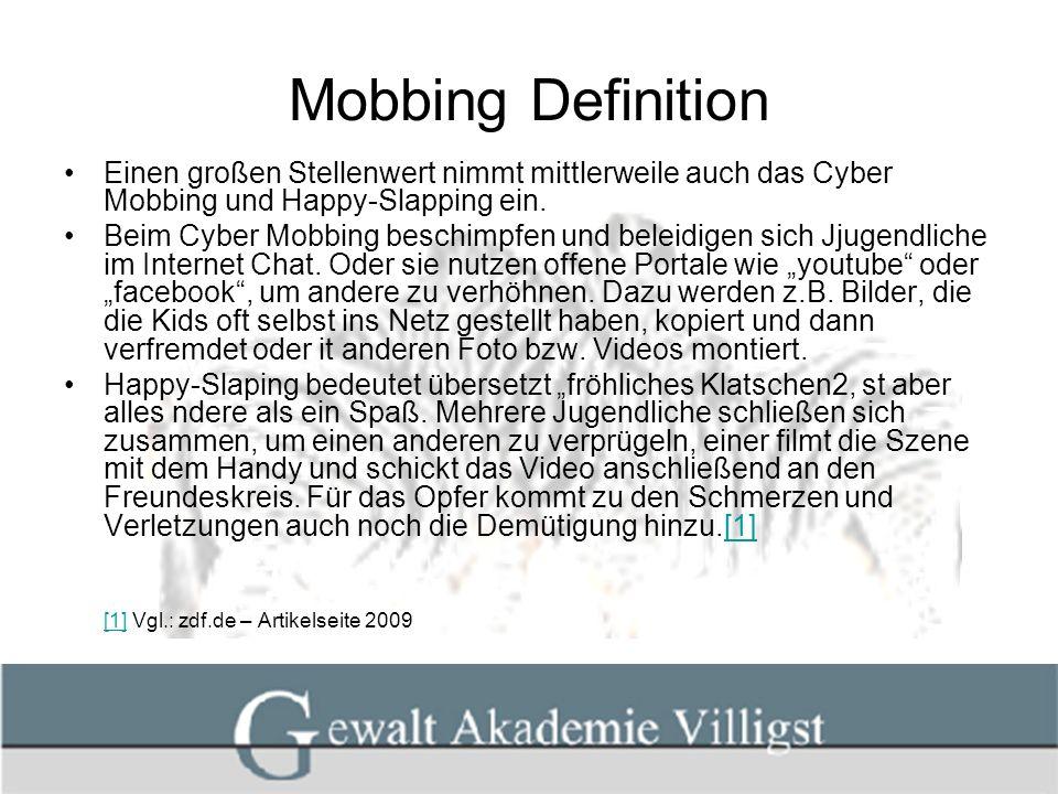 Mobbing Definition Einen großen Stellenwert nimmt mittlerweile auch das Cyber Mobbing und Happy-Slapping ein.