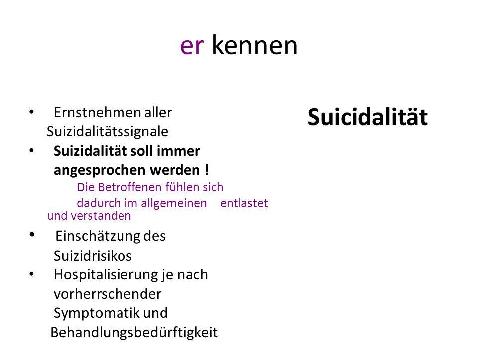 er kennen Suicidalität Einschätzung des Ernstnehmen aller