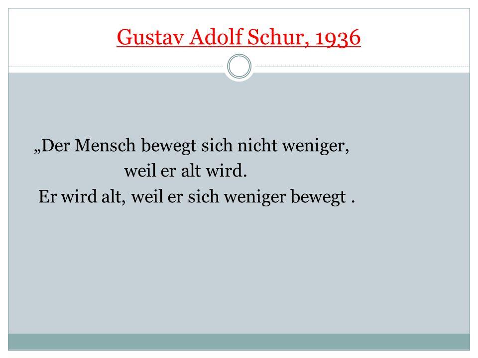 """Gustav Adolf Schur, 1936 """"Der Mensch bewegt sich nicht weniger,"""