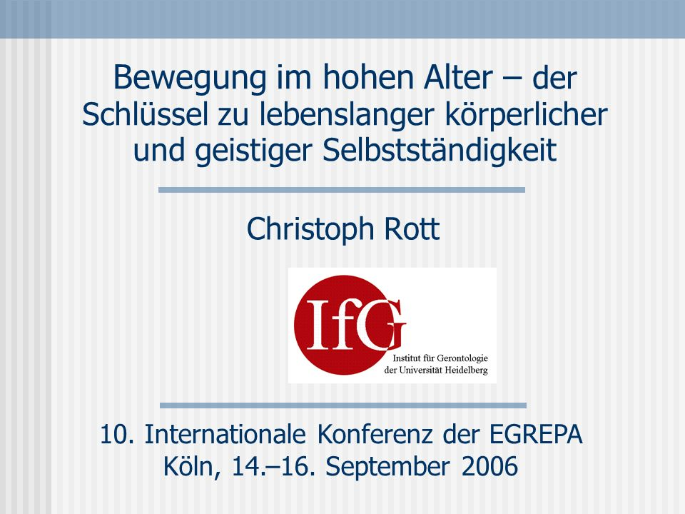 10. Internationale Konferenz der EGREPA