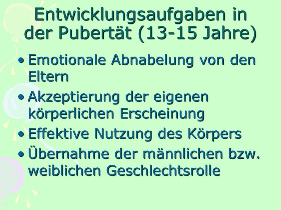 Entwicklungsaufgaben in der Pubertät (13-15 Jahre)