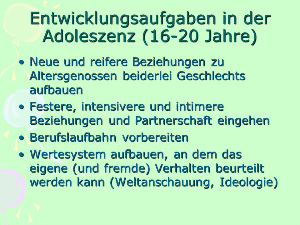Entwicklungsaufgaben in der Adoleszenz (16-20 Jahre)
