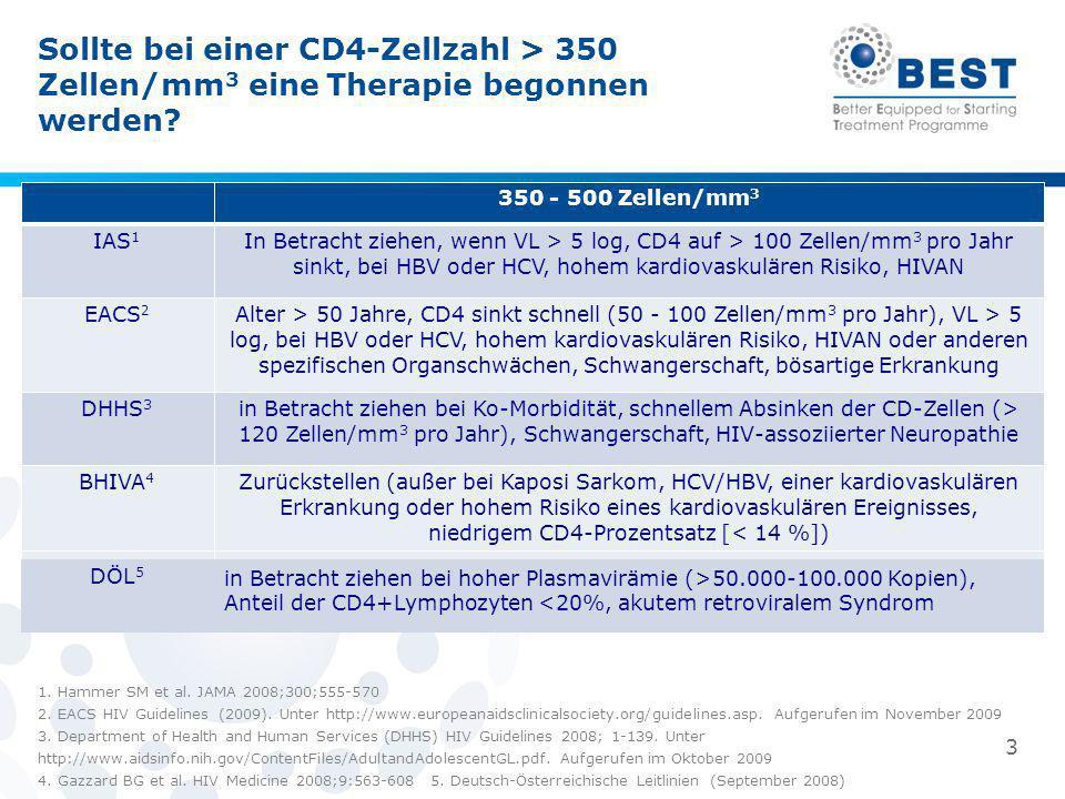 Sollte bei einer CD4-Zellzahl > 350 Zellen/mm3 eine Therapie begonnen werden
