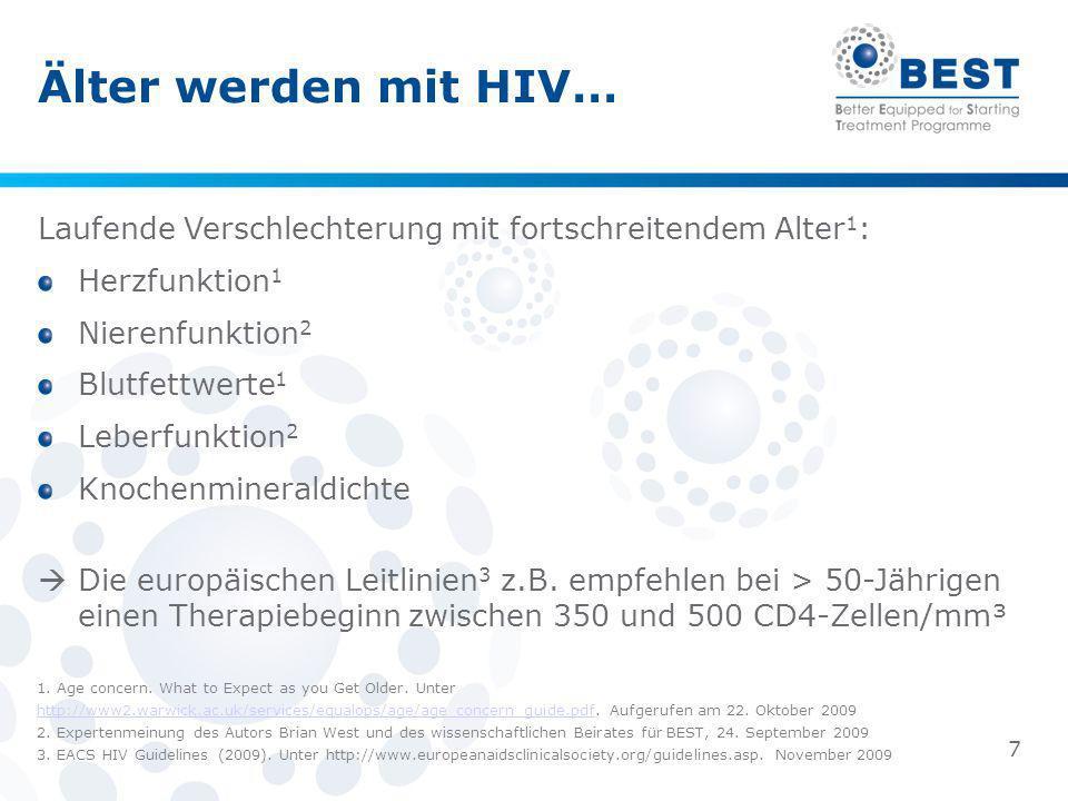 Älter werden mit HIV… Laufende Verschlechterung mit fortschreitendem Alter1: Herzfunktion1. Nierenfunktion2.