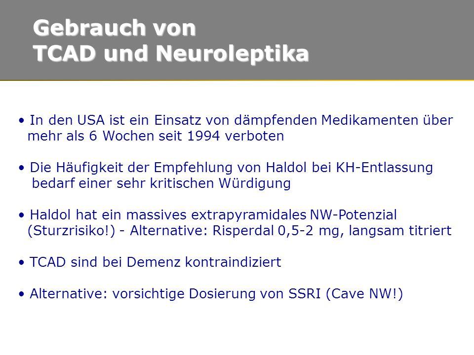 Gebrauch von TCAD und Neuroleptika