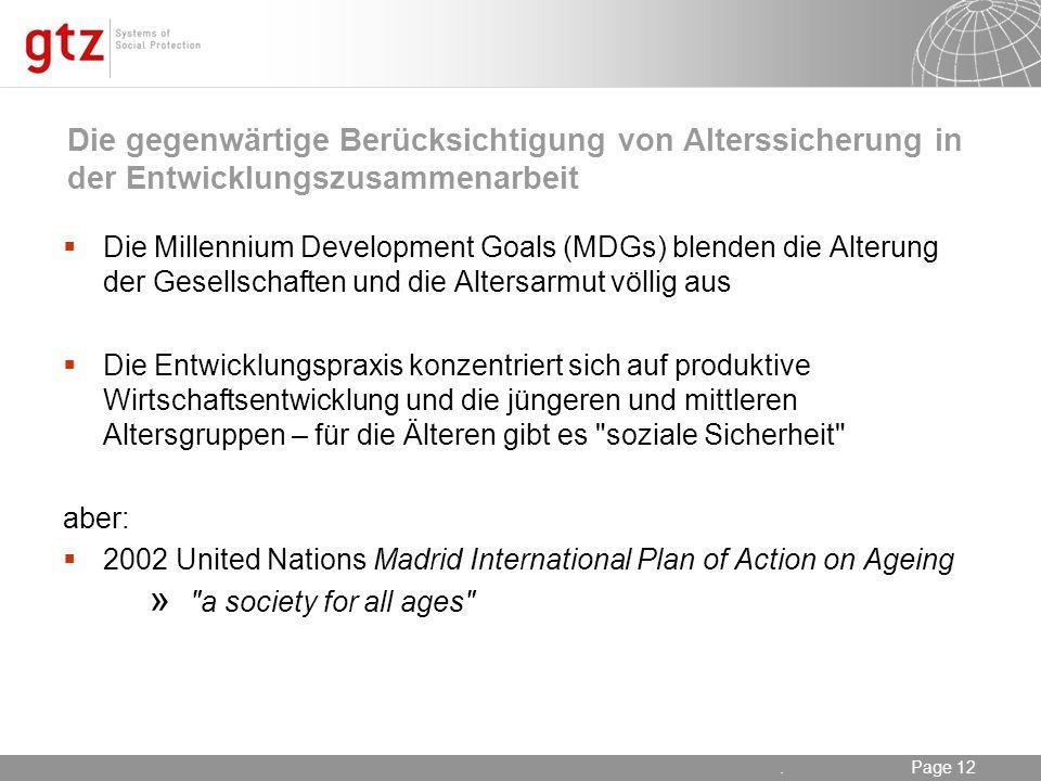 Die gegenwärtige Berücksichtigung von Alterssicherung in der Entwicklungszusammenarbeit