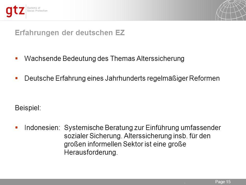 Erfahrungen der deutschen EZ