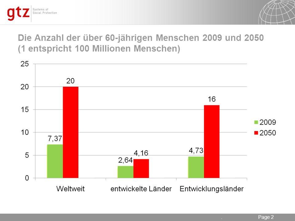 Die Anzahl der über 60-jährigen Menschen 2009 und 2050 (1 entspricht 100 Millionen Menschen)
