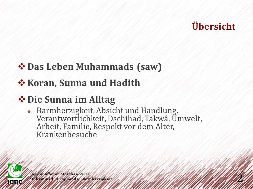 Übersicht Das Leben Muhammads (saw) Koran, Sunna und Hadith
