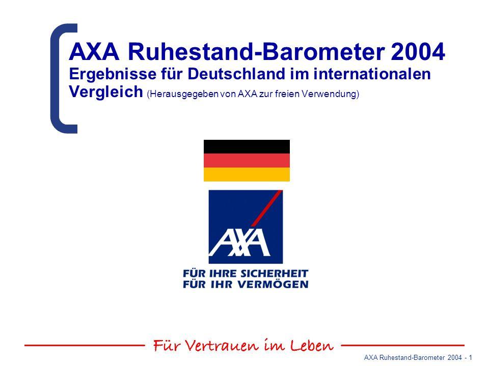 AXA Ruhestand-Barometer 2004 Ergebnisse für Deutschland im internationalen Vergleich (Herausgegeben von AXA zur freien Verwendung)
