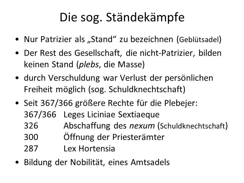 """Die sog. Ständekämpfe Nur Patrizier als """"Stand zu bezeichnen (Geblütsadel)"""