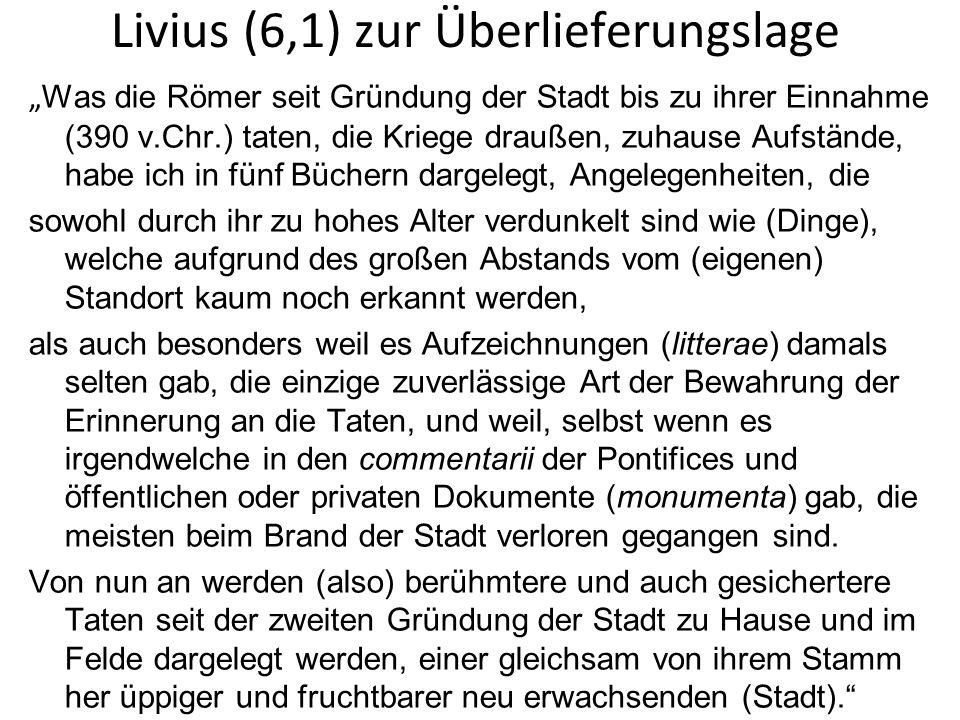 Livius (6,1) zur Überlieferungslage