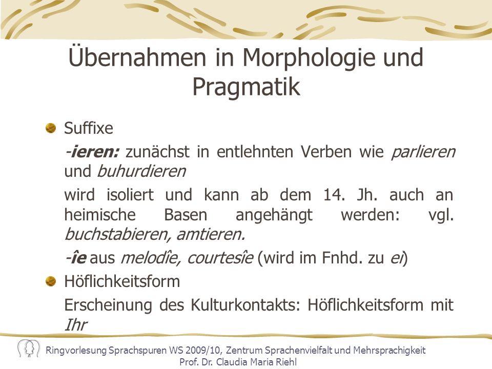 Übernahmen in Morphologie und Pragmatik