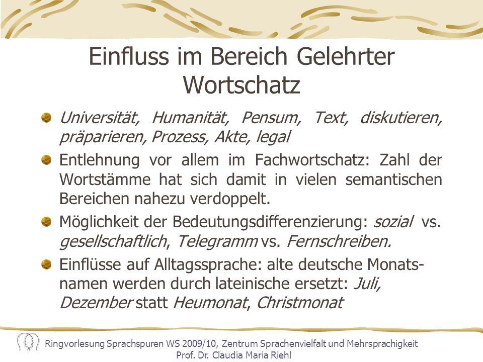 Einfluss im Bereich Gelehrter Wortschatz
