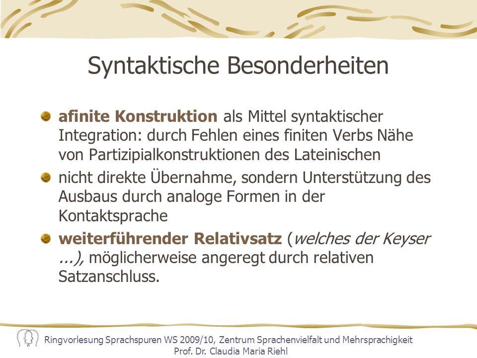Syntaktische Besonderheiten