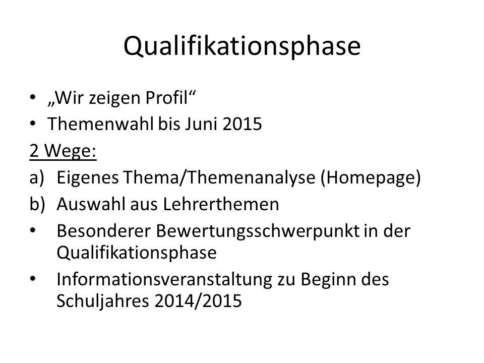 """Qualifikationsphase """"Wir zeigen Profil Themenwahl bis Juni 2015"""