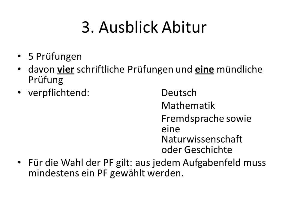 3. Ausblick Abitur 5 Prüfungen