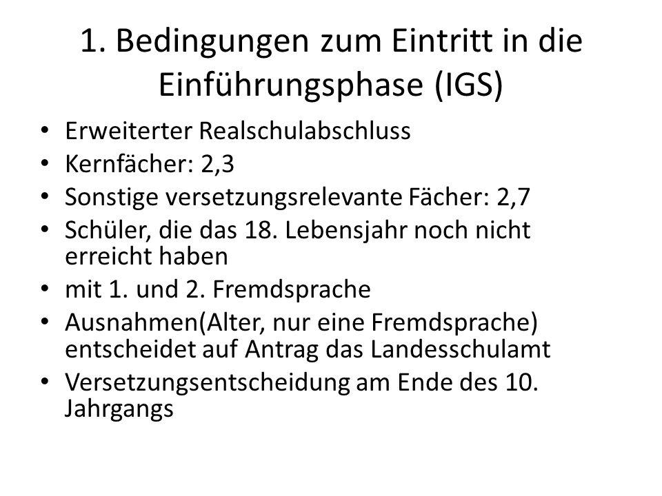 1. Bedingungen zum Eintritt in die Einführungsphase (IGS)