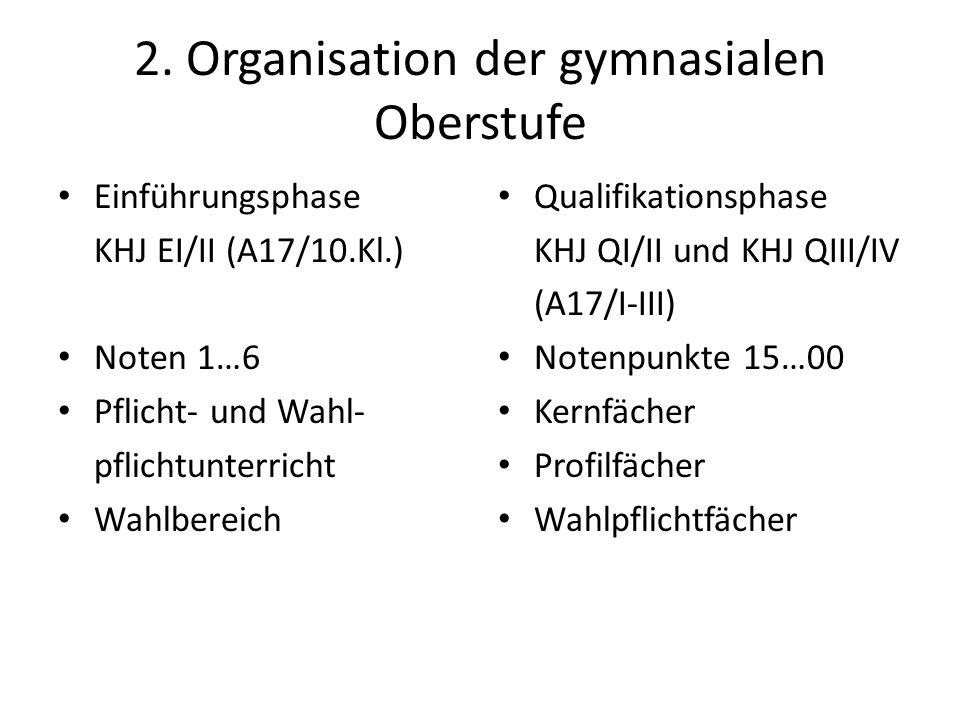 2. Organisation der gymnasialen Oberstufe