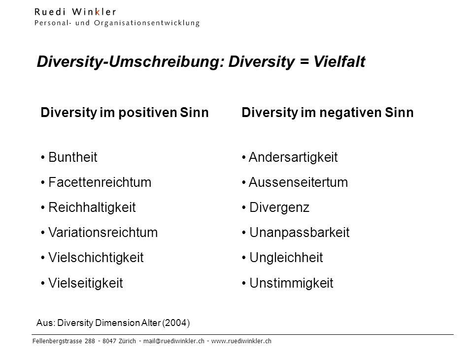 Diversity-Umschreibung: Diversity = Vielfalt