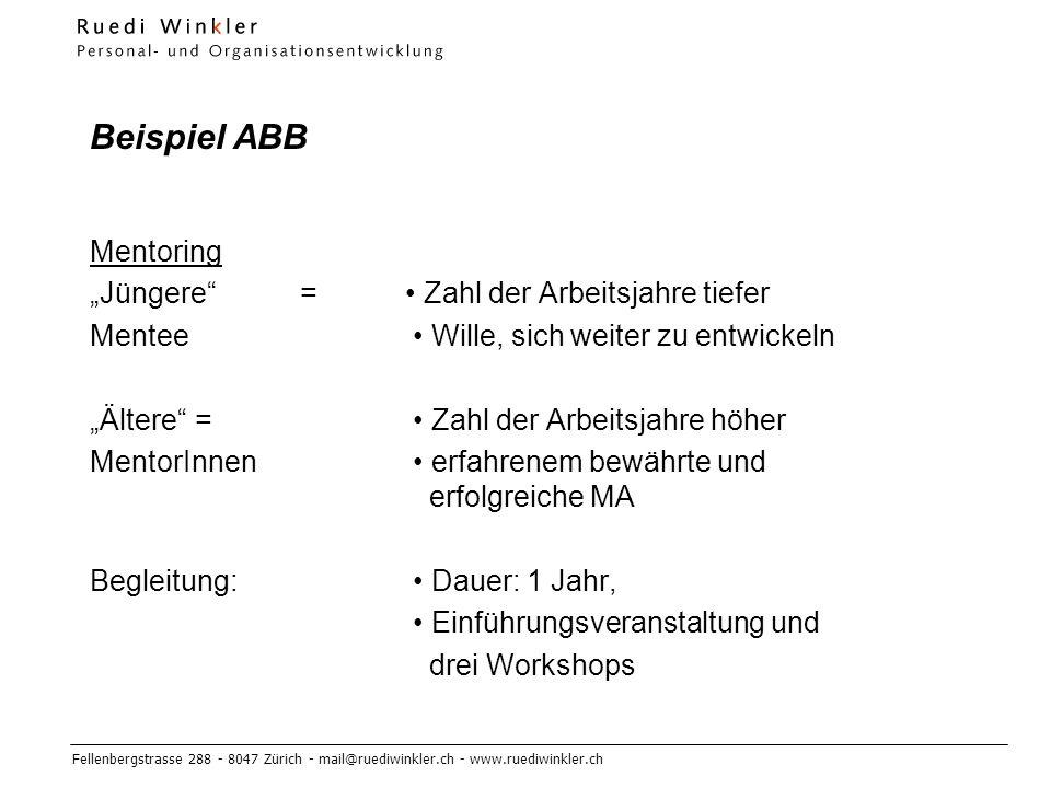 """Beispiel ABB Mentoring """"Jüngere = • Zahl der Arbeitsjahre tiefer"""
