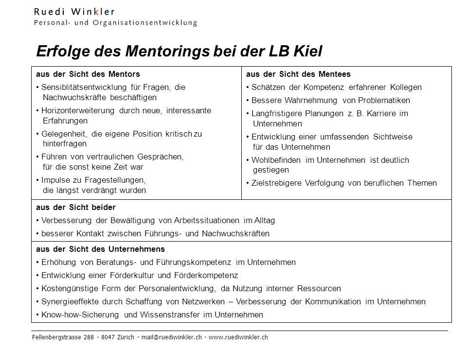 Erfolge des Mentorings bei der LB Kiel