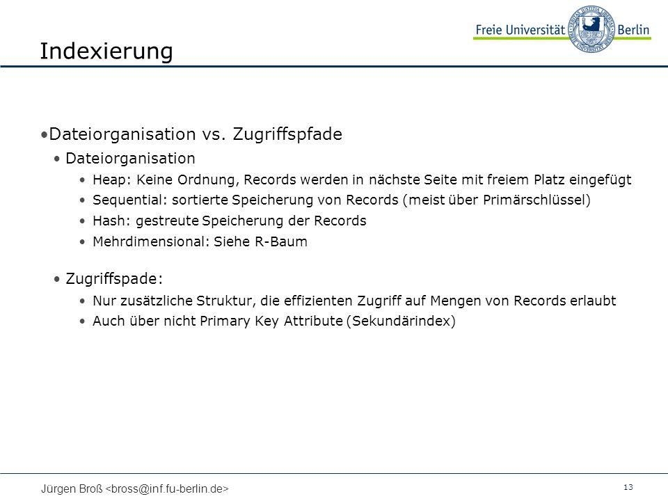Indexierung Dateiorganisation vs. Zugriffspfade Dateiorganisation
