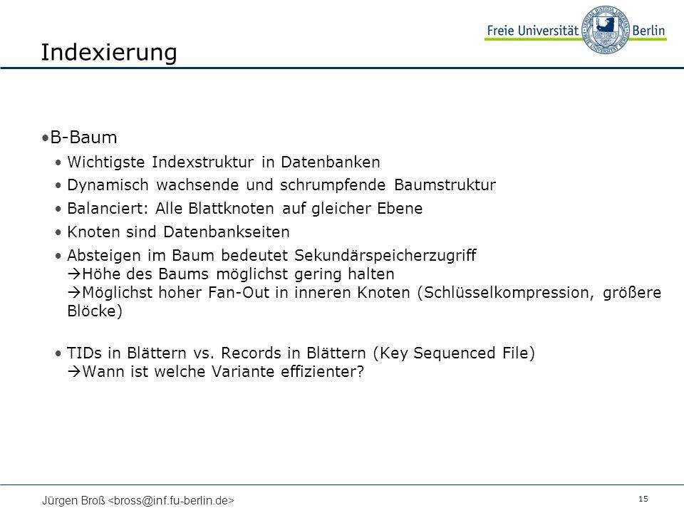 Indexierung B-Baum Wichtigste Indexstruktur in Datenbanken