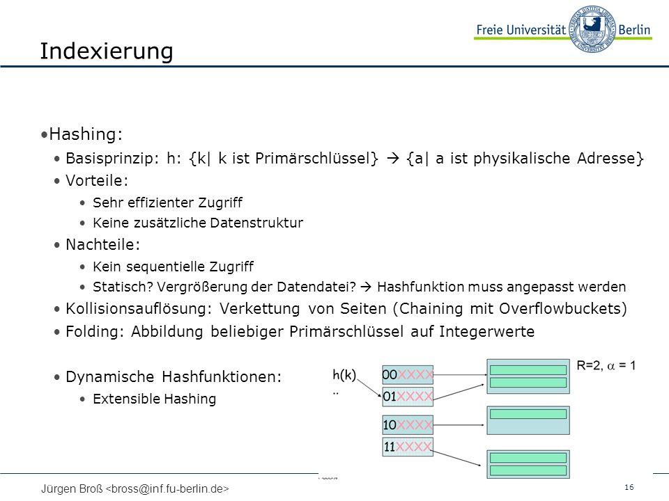 Indexierung Hashing: Basisprinzip: h: {k| k ist Primärschlüssel}  {a| a ist physikalische Adresse}