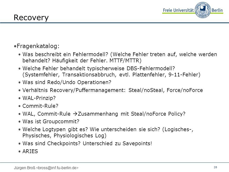 Recovery Fragenkatalog: