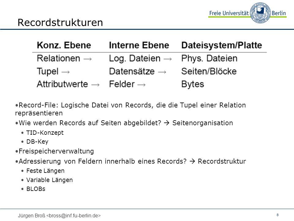 Recordstrukturen Record-File: Logische Datei von Records, die die Tupel einer Relation repräsentieren.