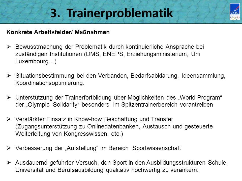 3. Trainerproblematik Konkrete Arbeitsfelder/ Maßnahmen
