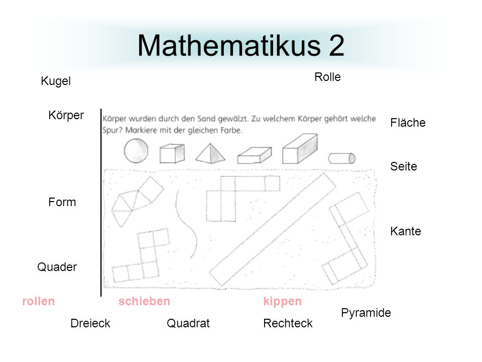 Mathematikus 2 Rolle Kugel Körper Fläche Seite Form Kante Quader