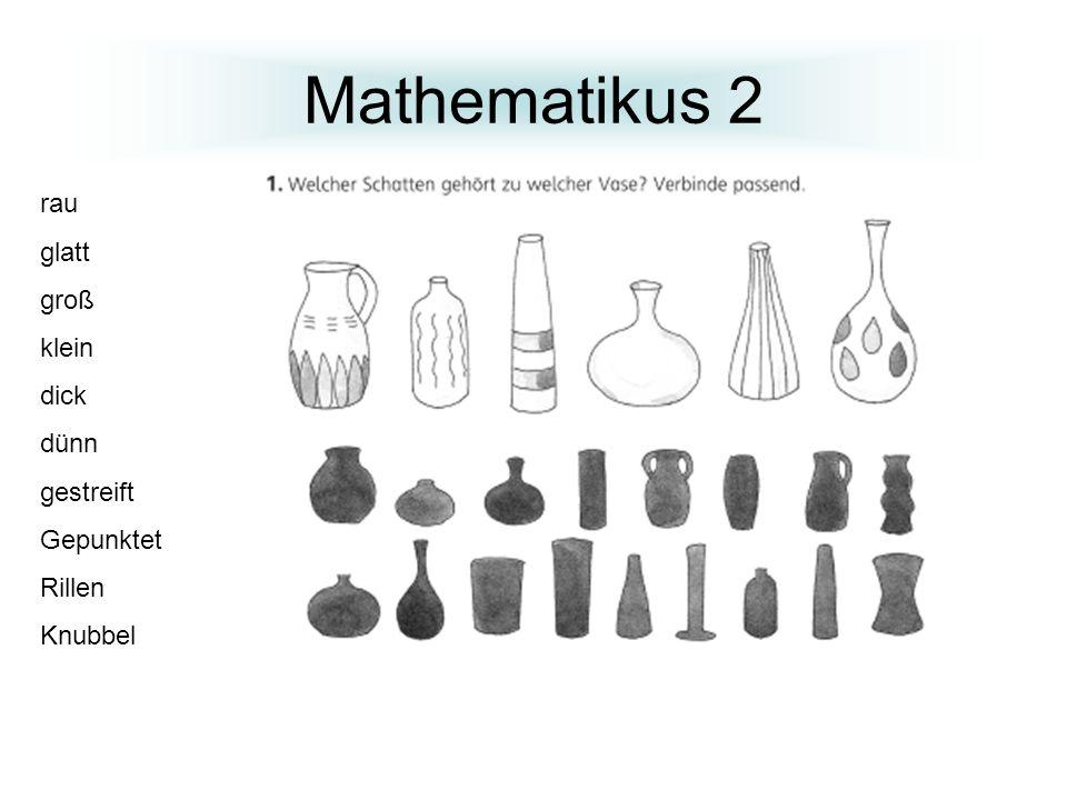 Mathematikus 2 rau glatt groß klein dick dünn gestreift Gepunktet
