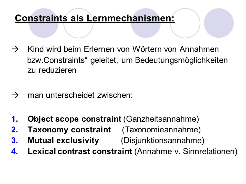 Constraints als Lernmechanismen: