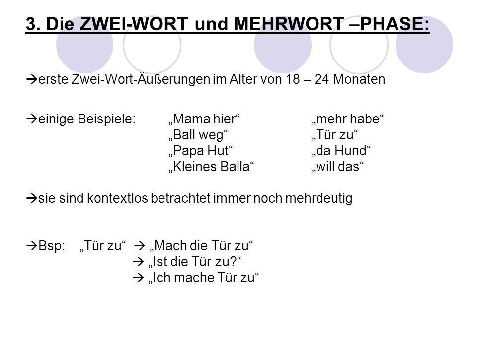3. Die ZWEI-WORT und MEHRWORT –PHASE: