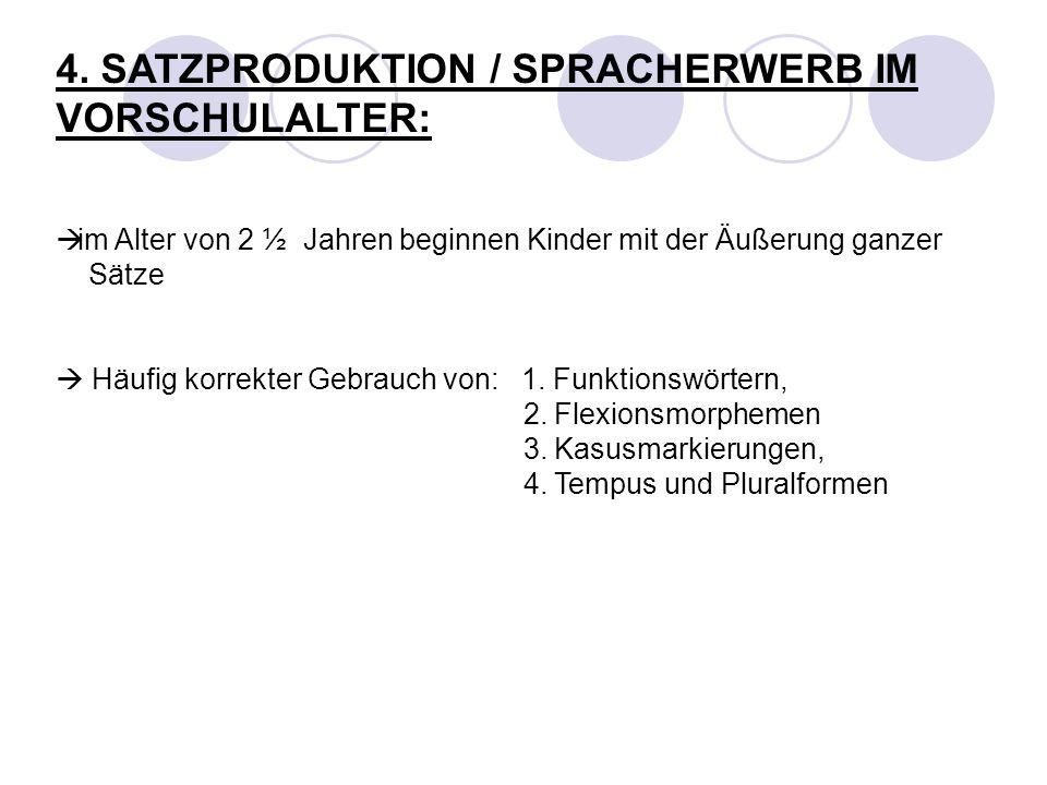 4. SATZPRODUKTION / SPRACHERWERB IM VORSCHULALTER: